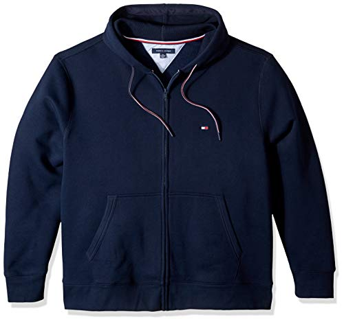 (Tommy Hilfiger Men's Big and Tall Hoodie Sweatshirt, navy blazer, BG- 4XL)