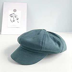 OULUOBA The new literary retro simple solid color children cap octagonal cap Japanese leisure wild male newsboy beret (Color : Turquoise, Size : One size)