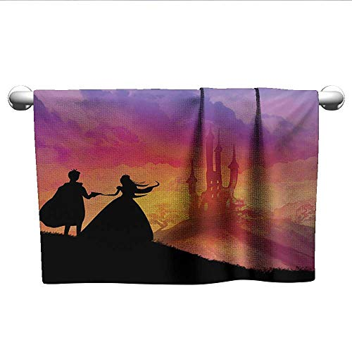 (alisoso Fantasy,Kids Towels Silhouette of Prince and Princess Magical Castle House Fairytale Dream Girls Image Fast Drying Fitness Hand Towels Multicolor W 20