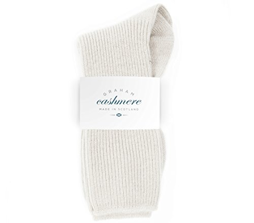 Graham Cashmere Women's Pure Cashmere Bed Socks Gift Boxed One Size White (Socks 100% Cashmere)