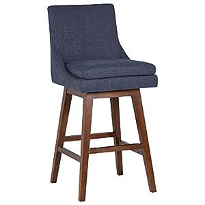 "Amazon Brand – Stone & Beam Alaina Contemporary High-Back Swivel Seat Bar Stool, 43""H, Beige"