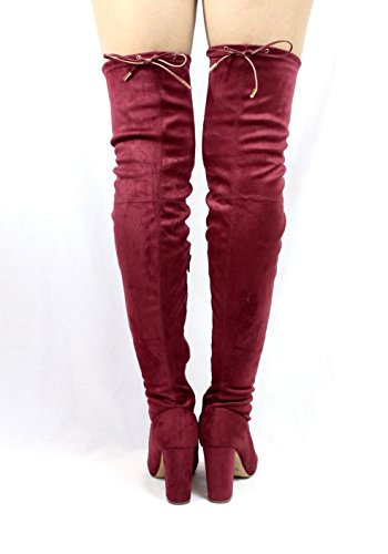 Jacobies Over The Knee Chunky High Heel Block Chunky Thigh High Round Toe Boots Wine (Kenzy) COVHj1yNZl
