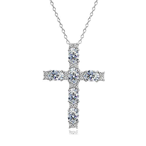 Sterling Silver Clear Oval-Cut Cross Religious Pendant Necklace Made with Swarovski Crystals