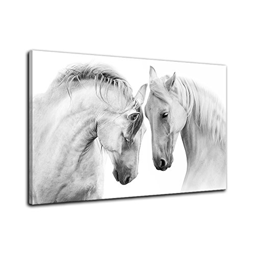 Two Horse Wall Art of Animal Prints on Canvas Black and White Pictures for Living Room Decor Wall Artwork HD Prints For Home With Framed Stretched Ready to Hang by AMEMNY