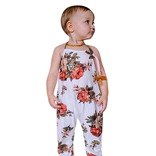 Lavany Kids Rompers Toddler Baby Girls Floral Printed Halter Jumpsuit For 0-4 Years (3 Years, Beige) ()