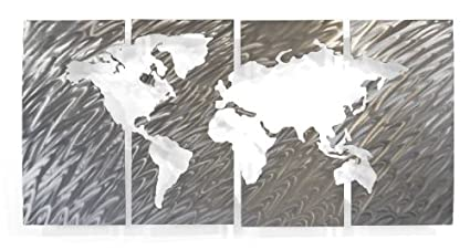 Amazon world map wall art contemporary metal sculpture by ash world map wall art contemporary metal sculpture by ash carl gumiabroncs Image collections