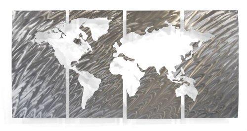 amazoncom world map wall art metal sculpture by ash carl home u0026 kitchen