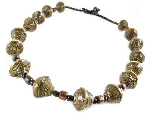 Maisha Fair Trade Strand Necklace, Moss Green and Glass Black (Fair Trade Glass Beaded Necklace)