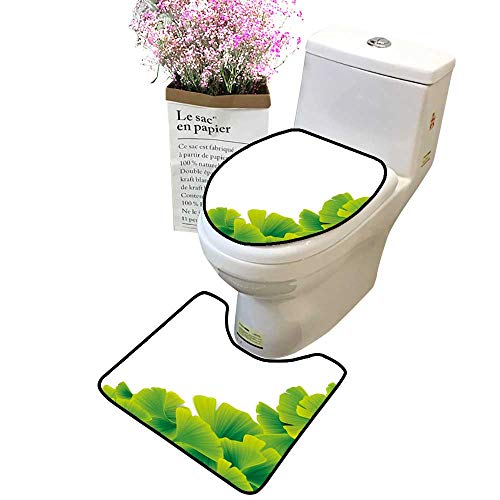 2 Piece Bathroom Mat Pedestal Rug Bath Mat Green Ginko Leaves Contour Toilet Mat and Toilet lid ()