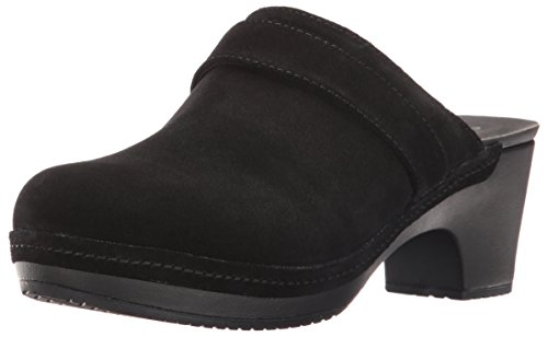 crocs Women's Sarah Suede Clog Mule, Black, 8 M US (Leather Clogs Black Heels)