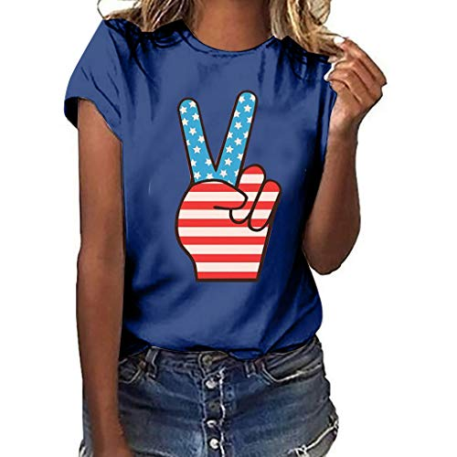 us Size Independence Day Short Sleeve Casual T-Shirt Tops Navy ()