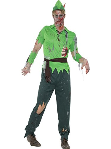Smiffy's Men's Zombie Lost Boy Costume, Green, Medium (Lost Boys Costume Peter Pan)