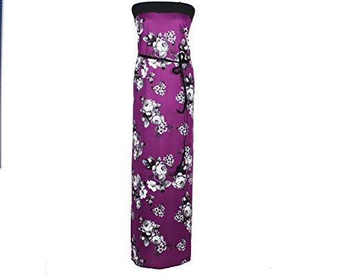 Lila Damen dunkle Gr design Rosen S Maxikleid twB4B