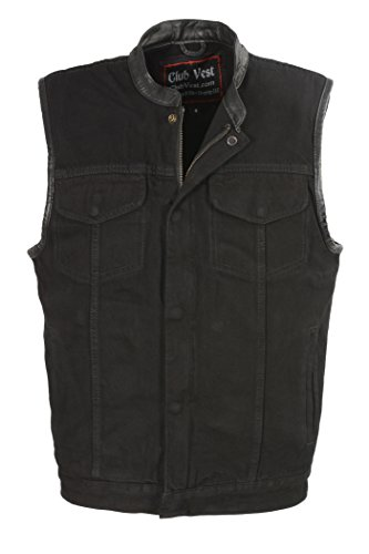Club Vest Men's Concealed Snap Denim with Hidden Zipper Black 3X