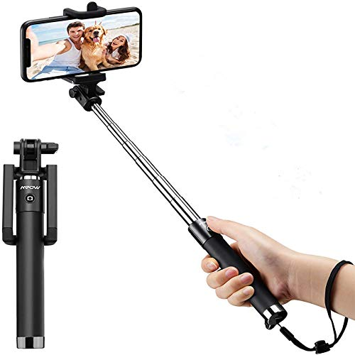 Mpow Selfie Stick, Lightweight Extendable 31.9 Inch Monopod with Bluetooth Remote Compatible iPhone SE /11/Pro Max/ XS/Max/XR/X/8/8P/7/7P/6S, Galaxy S20/S10/ S10 Plus/S9/8/7/6/Note 10 and More, Pink