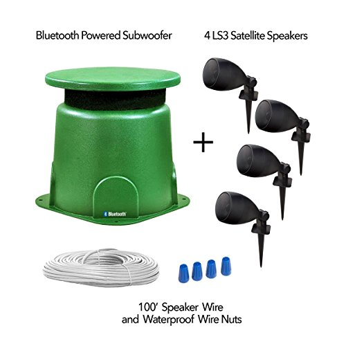 Outdoor Powered Bluetooth 100W Subwoofer with (4) LS3 Satellite Speakers   Omni-Directional 360° Sound   IP67 Weatherproof Power Supply   Easy Set-up   NO Amplifier Needed - BOM4.1