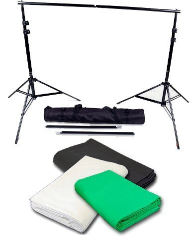 CowboyStudio Photography 10' X 20' Black, White & Chromakey Green Muslin Backdrops with 10 ft Heavy Duty Background Support System With Carrying Case by CowboyStudio