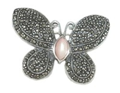 Sterling Silver Marcasite Pink Mother Of Pearl Butterfly Brooch Pin