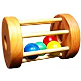 Papa Dons Toys Crawling Baby Wooden Tumbler Floor Toy Wood Cage & Balls