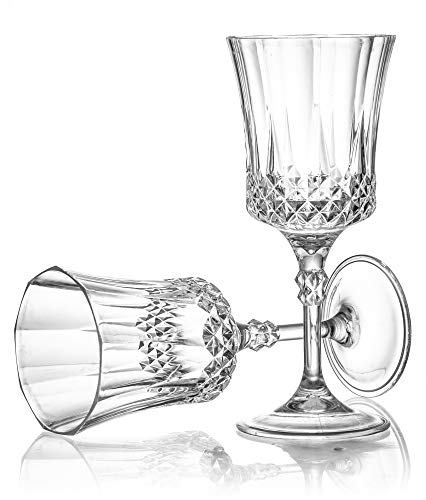 Laura Stein 4 Pack Disposable Heavy Weight Plastic Crystal Style French Goblets With Stem, Elegant Round Drinking Cups For Wine, Juice Or Any Drink, Great For Weddings, Parties, Or Any Upscale Event