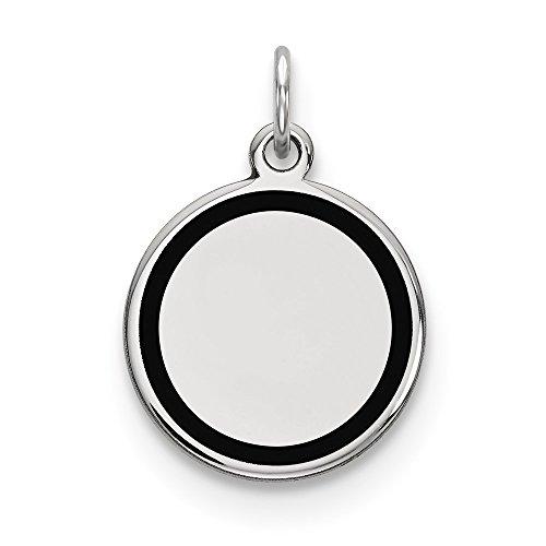 Engravable Round Pendant Circle Custom Charm Name Plate Disc Black Enamel 14K White Gold - Engravable Circle Charm Pendant