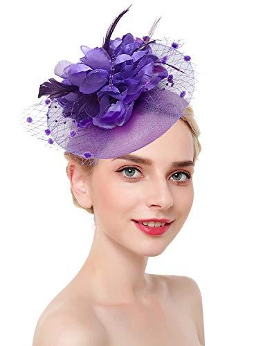 (Z&X Big Flower Fascinator Derby Hat with Headband Clip Millinery Cocktail Hat Purple)