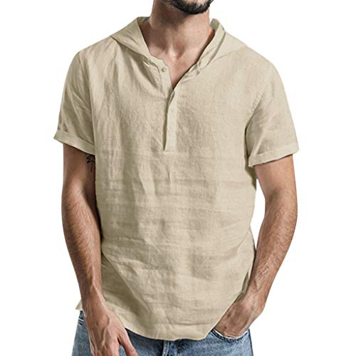 Short Sleeve Shirts for Men, MmNote Cotton Linen Classic Solid Color Hoodie Loose Cool Quick Casual Short Sleeve Khaki