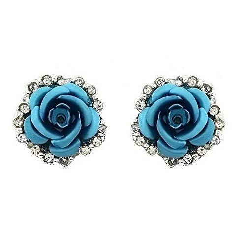 Monowi Women Fashion Jewelry Lady Elegant Crystal Rose Flower Ear Stud Earrings 1 Pair | Model ERRNGS - 5186 |