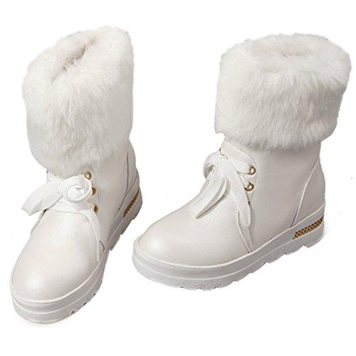 ENMAYER Frauen Pelzartige warme Plattform runde Zehe niedrige Ferse-Schnee lädt mittleres Kalb-Stiefel-Partei-Kleid auf Weiß1