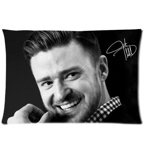 Justin Timberlake Hot Singer Pillowcase Custom Throw Pillow cover 16x24 Zippered Pillow Case Two Sides Picture Printed Soft Cotton Comfortable
