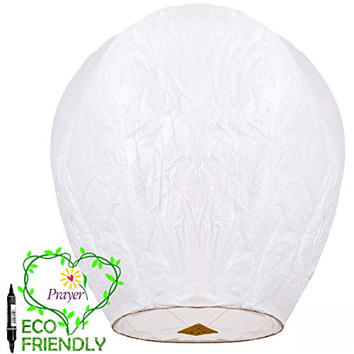 Chinese Lanterns & Sky Lanterns (5 Pack) ECO Friendly +Marker Pen, 100% Biodegradable - Beautiful Lantern for White for Weddings, Birthdays, Memorials and Much More by Smeiker -