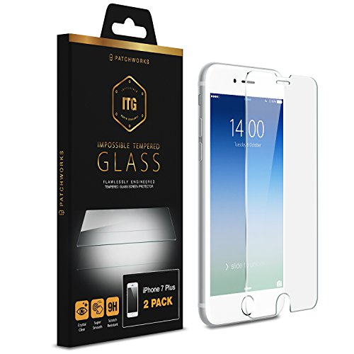 "iPhone 8 Plus 7 Plus Screen Protector, Patchworks ITG (2-Pack) [5.5""inch] Tempered Glass Screen Protector for iPhone 8 Plus / 7 Plus / 6s Plus / 6 Plus 2017 2016 2015 3D Touch Compatible Glass (Patchwork Glass)"