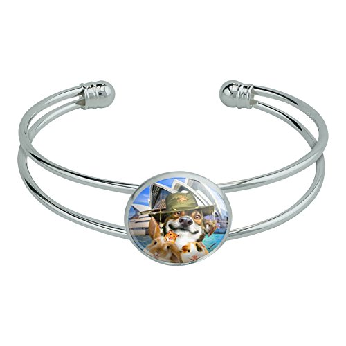 Graphics and More Sydney Opera House Australia Dog Rabbit Guinea Pig Novelty Silver Plated Metal Cuff Bangle Bracelet
