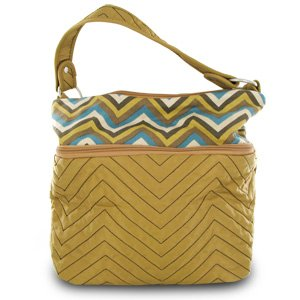 Travelon Quilted Nylon Zip-Top Train Case Tan/Zig Zag Pattern from Travelon