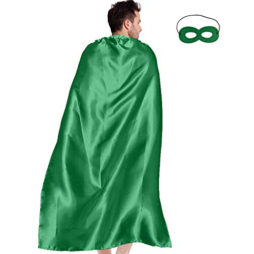 Men & Women's Superhero-Cape or Cloak with Mask for Adults Party Dress up Costumes (Green) -