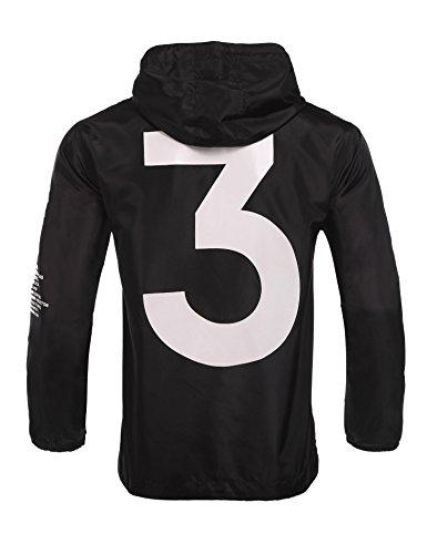 Baguet Men Waterproof Letter Print Jacket Hip-Pop Long Sleeve Anti-Sun Hoodie Streetwear(2 Colors, S-XL)