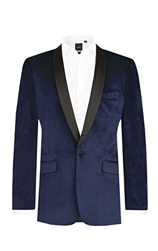 Dobell Mens Formalwear Smart Slim Fit Navy Blue Velvet Jacket 44R (Wear Velvet Jacket)