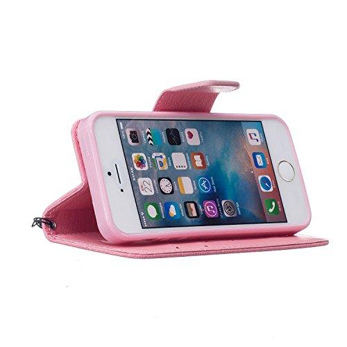 Für Apple iPhone 5 5G 5S / iPhone SE (4 Zoll) Tasche ZeWoo® Ledertasche Kunstleder Brieftasche Hülle PU Leder Schutzhülle Case Cover - BF067 / Rosa Bär