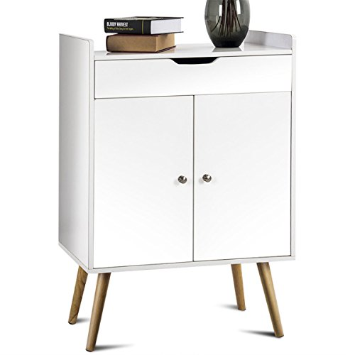 AK Energy White Buffet Sideboard Storage Cabinet Console Cabinet Table Sever Display 2 Door 1 Drawer