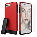 elago iPhone 7 Plus Case [Glide][Extreme Red / Black] - [Multi-Option Case][Military Drop Test Certified] - for iPhone 7 Plus [Included Tempered Glass+ Screen Protector]
