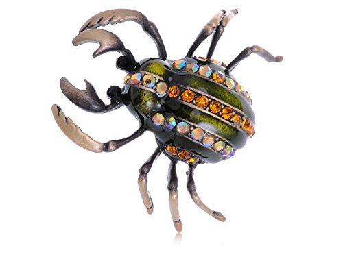 - Alilang Sacred Scarab Green Beetle Synthetic Topaz Crystal Rhinestone Insect Fashion Pin Brooch
