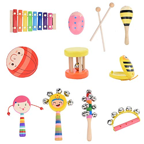 (Wooden Musical, Putars Knocking On The Piano Drum Rattle Rattle Semicircular Rattle Sand Hammer Castanets Sand Egg, Children's Multifunctional Durable Wooden Musical Pounding Toy for Toddlers 12Pcs)