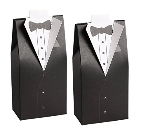 20pc Set of Gay LGBT Groom and Groom Tuxedo Wedding Party Favor Boxes for Grooms - Bridal Candy Gift Guests Rehearsal Dinner Shower His & His Anniversary