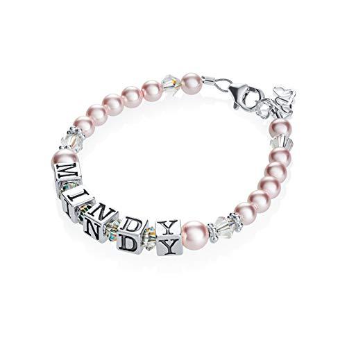 (Personalized Name Luxury Sterling Silver with Pink Swarovski Crystal Baby Girl Keepsake Bracelet (BPNP_M))