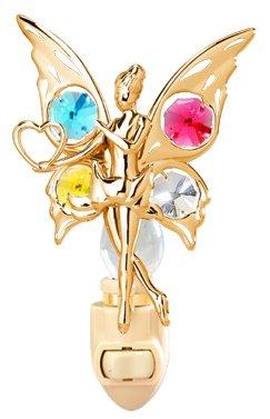 24k Gold Fairy with Heart Night Light - Multicolored Swarovski Crystal