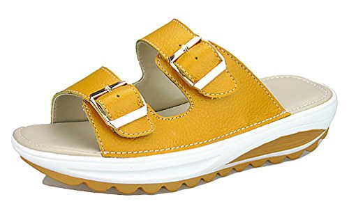 Bottom Beach for Women YVWTUC Leather Shoes Thick Slippers Yellow Slope 1OxwZwSWPn