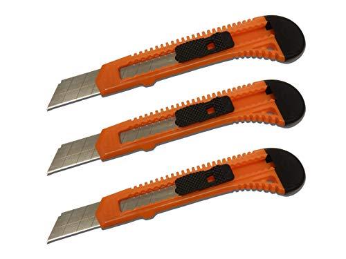 SNL Retractable Razor Utility Knife Set, 6 Inch, Orange, 3 Pack