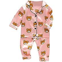 VEKDONE Toddler Baby Boys & Girls Satin Pajamas Set PJS Long Sleeve Cartoon Button-Down Sleepwear Loungewear