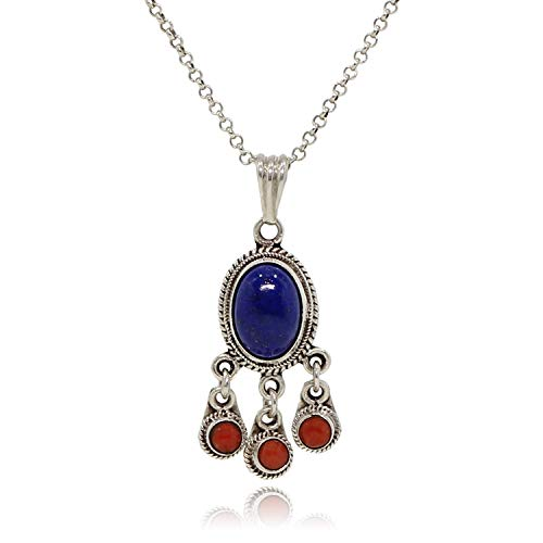 (Luna Azure 925 Sterling Silver and Lapis Lazuli with 3 red Coral Drops Vintage Pendant Necklace Women Girls Gift Present Jewelry)