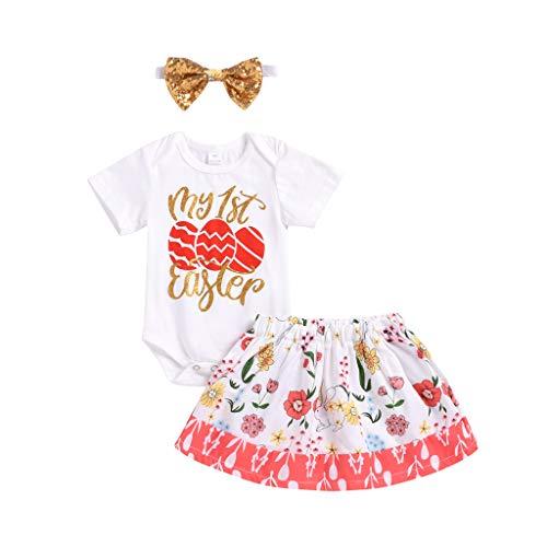 NUWFOR Infant Baby Girls Easter Egg Letter Romper Bodysuit Skirt Hair Band Outfit Set(White,6-12Months)]()